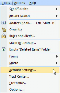 Outlook Account Settings Setup