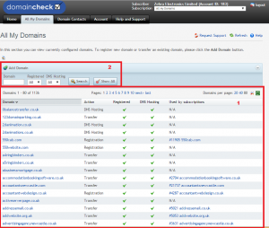 Viewing all my domains in Domaincheck control panel
