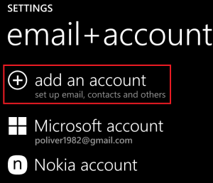 Adding email account