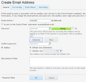create email address in Domaincheck control panel