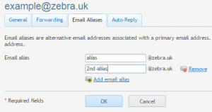 Adding an email alias in Domaincheck control panel