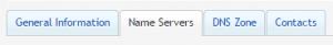 name servers tab