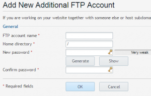Adding a new ftp account in Domaincheck control panel